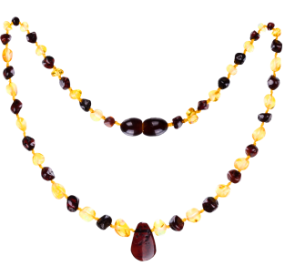 BALTIC AMBER BABY TEETHING NECKLACE LEMON/CHERRY WITH PENDANT POLISHED