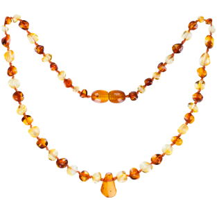 BALTIC AMBER BABY TEETHING NECKLACE LEMON/COGNAC WITH PENDANT POLISHED