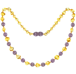 BALTIC AMBER BABY TEETHING NECKLACE LEMON WITH AMETHYST GEMSTONES POLISHED