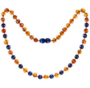 BALTIC AMBER BABY TEETHING NECKLACE COGNAC WITH LAPIS LAZULI GEMSTONES POLISHED