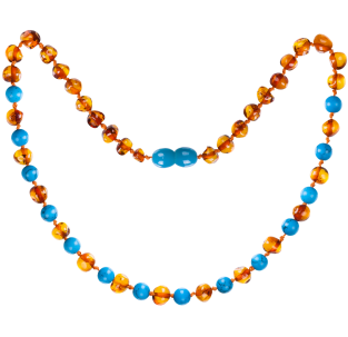 BALTIC AMBER BABY TEETHING NECKLACE COGNAC WITH TURQUOISE GEMSTONES POLISHED