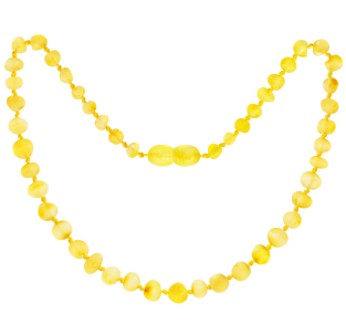 BALTIC AMBER BABY TEETHING NECKLACE LEMON BAROQUE STYLE UNPOLISHED