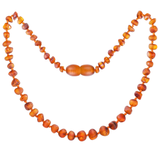 BALTIC AMBER BABY TEETHING NECKLACE COGNAC BAROQUE STYLE UNPOLISHED