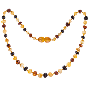 BALTIC AMBER BABY TEETHING NECKLACE MULTI 4 BAROQUE STYLE UNPOLISHED