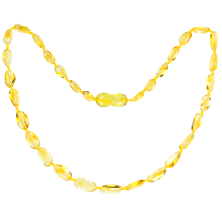 BALTIC AMBER BABY TEETHING NECKLACE LEMON BEANS STYLE POLISHED