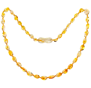 BALTIC AMBER BABY TEETHING NECKLACE HONEY BEANS STYLE POLISHED