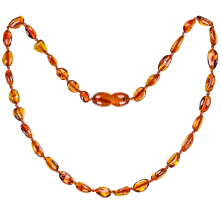 BALTIC AMBER BABY TEETHING NECKLACE COGNAC BEANS STYLE POLISHED