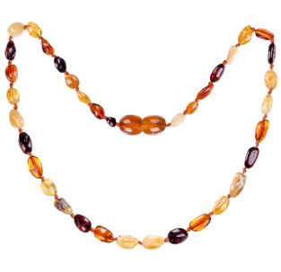 BALTIC AMBER BABY TEETHING NECKLACE MULTI 4 BEANS STYLE POLISHED