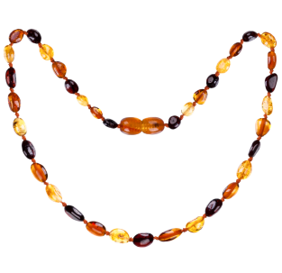 BALTIC AMBER BABY TEETHING NECKLACE MULTI 3 BEANS STYLE POLISHED