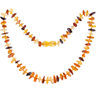 BALTIC AMBER BABY TEETHING NECKLACE MULTI 4 NUGGETS STYLE POLISHED