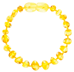 BALTIC AMBER BABY TEETHING BRACELET LEMON BAROQUE STYLE POLISHED