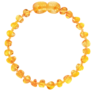 BALTIC AMBER BABY TEETHING BRACELET HONEY BAROQUE STYLE POLISHED