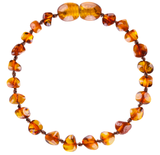 BALTIC AMBER BABY TEETHING BRACELET COGNAC BAROQUE STYLE POLISHED