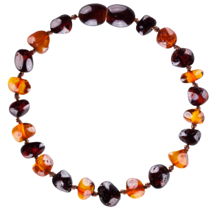 BALTIC AMBER BABY TEETHING BRACELET COGNAC/CHERRY BAROQUE STYLE POLISHED