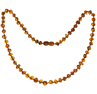 BALTIC AMBER ADULT NECKLACE COGNAC BAROQUE STYLE POLISHED