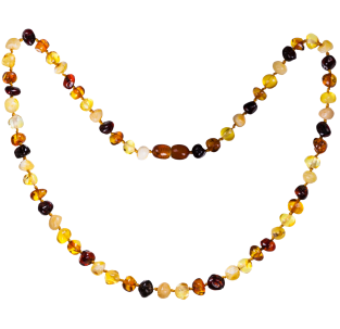 BALTIC AMBER ADULT NECKLACE MULTI 4 BAROQUE STYLE POLISHED