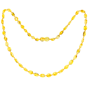 BALTIC AMBER ADULT NECKLACE LEMON BEANS STYLE POLISHED