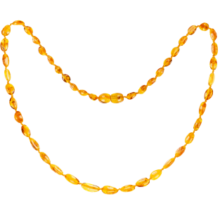 BALTIC AMBER ADULT NECKLACE HONEY BEANS STYLE POLISHED