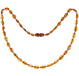 BALTIC AMBER ADULT NECKLACE COGNAC BEANS STYLE POLISHED