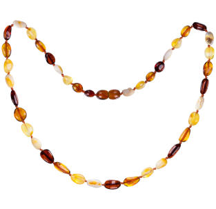BALTIC AMBER ADULT NECKLACE MULTI 4 BEANS STYLE POLISHED