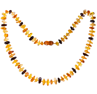 BALTIC AMBER ADULT NECKLACE MULTI 4 NUGGETS STYLE POLISHED