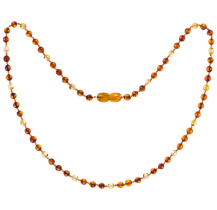 BALTIC AMBER ADULT NECKLACE COGNAC/LEMON ROUND STYLE POLISHED