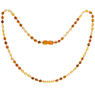 BALTIC AMBER ADULT NECKLACE LEMON/COGNAC ROUND STYLE POLISHED