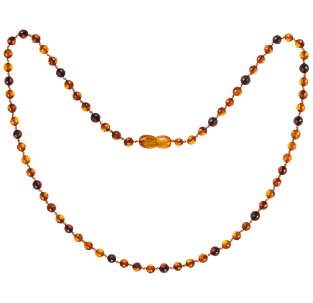 BALTIC AMBER ADULT NECKLACE COGNAC/CHERRY ROUND STYLE POLISHED
