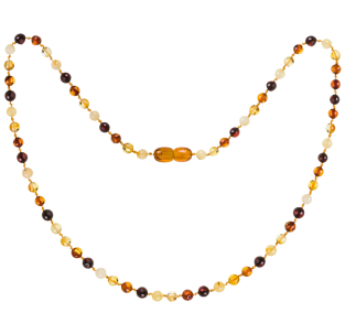 BALTIC AMBER ADULT NECKLACE MULTI 4 ROUND STYLE POLISHED