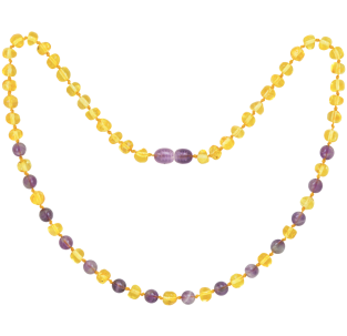 BALTIC AMBER ADULT NECKLACE LEMON WITH AMETHYST GEMSTONES POLISHED