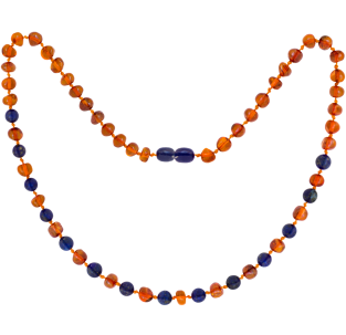 BALTIC AMBER ADULT NECKLACE COGNAC WITH LAPIS LAZULI GEMSTONES POLISHED