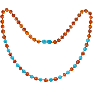 BALTIC AMBER ADULT NECKLACE COGNAC WITH TURQUOISE GEMSTONES POLISHED