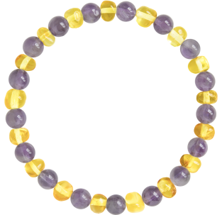 BALTIC AMBER ADULT BRACELET LEMON WITH AMETHYST GEMSTONES POLISHED