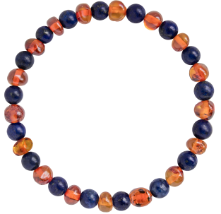 BALTIC AMBER ADULT BRACELET COGNAC WITH LAPIS LAZULI GEMSTONES POLISHED