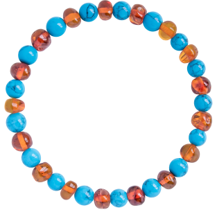 BALTIC AMBER ADULT BRACELET COGNAC WITH TURQUOISE GEMSTONES POLISHED