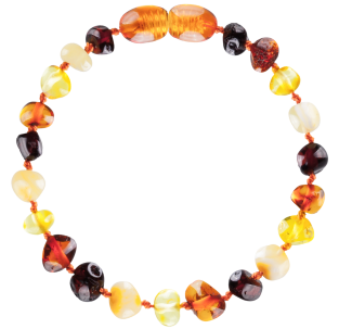 BALTIC AMBER BABY TEETHING BRACELET MULTI 4 BAROQUE STYLE POLISHED