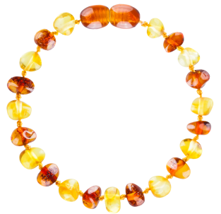 BALTIC AMBER BABY TEETHING BRACELET LEMON/COGNAC BAROQUE STYLE POLISHED