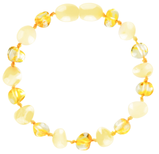 BALTIC AMBER BABY TEETHING BRACELET MILK/LEMON BAROQUE STYLE POLISHED