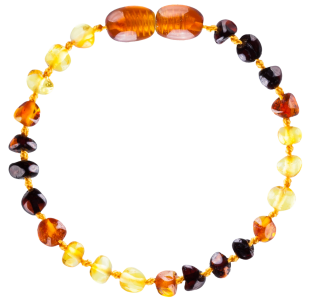 BALTIC AMBER BABY TEETHING BRACELET RAINBOW BAROQUE STYLE POLISHED