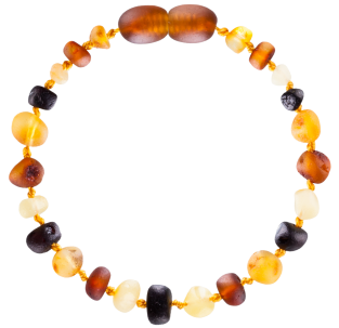 BALTIC AMBER BABY TEETHING BRACELET MULTI 4 BAROQUE STYLE UNPOLISHED