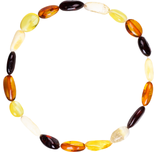 BALTIC AMBER ADULT BRACELET MULTI 4 BEANS STYLE POLISHED