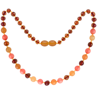 BALTIC AMBER BABY TEETHING NECKLACE COGNAC/AVENTURINE/CORAL GEMSTONES POLISHED