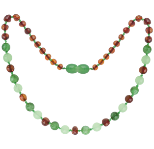BALTIC AMBER BABY TEETHING NECKLACE COGNAC/GREEN JADE GEMSTONES POLISHED