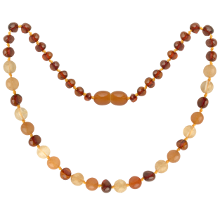 BALTIC AMBER BABY TEETHING NECKLACE COGNAC/QUARTZ/AVENTURINE GEMSTONES POLISHED