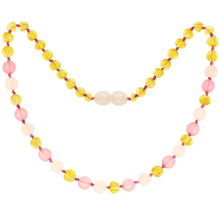BALTIC AMBER BABY TEETHING NECKLACE LEMON/ROSE QUARTZ/PINK JADE GEMSTONES POLISHED