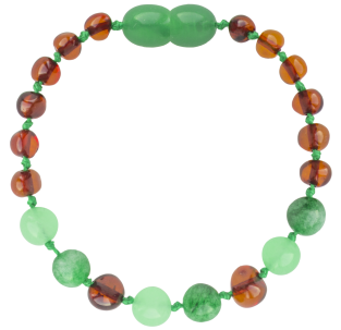 BALTIC AMBER BABY TEETHING BRACELET COGNAC/GREEN JADE BAROQUE STYLE POLISHED