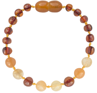 BALTIC AMBER BABY TEETHING BRACELET COGNAC/QUARTZ/AVENTURINE BAROQUE STYLE POLISHED