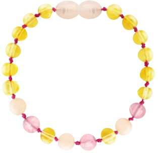BALTIC AMBER BABY TEETHING BRACELET LEMON/QUARTZ/PINK JADE BAROQUE STYLE POLISHED
