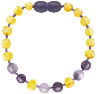 BALTIC AMBER BABY TEETHING BRACELET LEMON/AMETHYST/JADE BAROQUE STYLE POLISHED