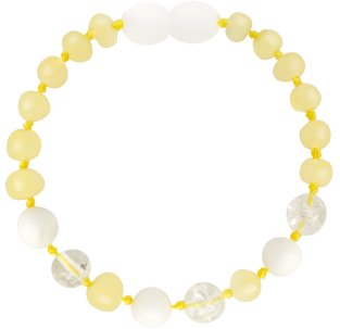 BALTIC AMBER BABY TEETHING BRACELET MILK/CRYSTAL/WHITE SHELL BAROQUE STYLE POLISHED